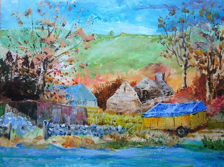 Upland Farm, Weardale -40cmx30cm acrylic by Willie Drea