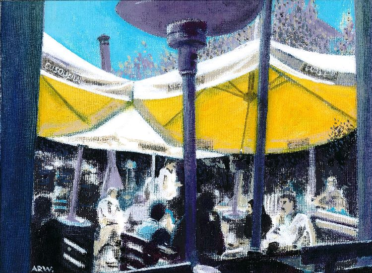 81 -Awnings in Cuzco by Allan White, -acrylic on board