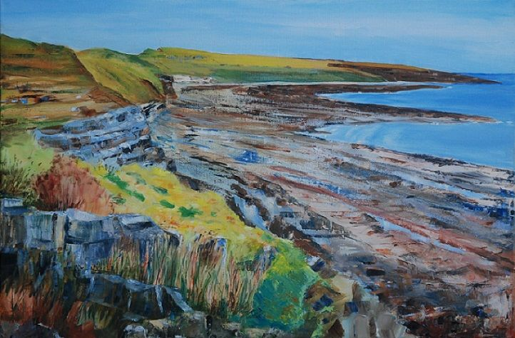 44 Cullernose Point Northumberland -oil painting by Willie Drea
