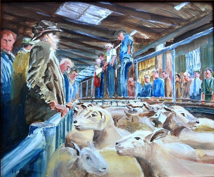 Mart (sheep sales)-oil painting by Willie Drea