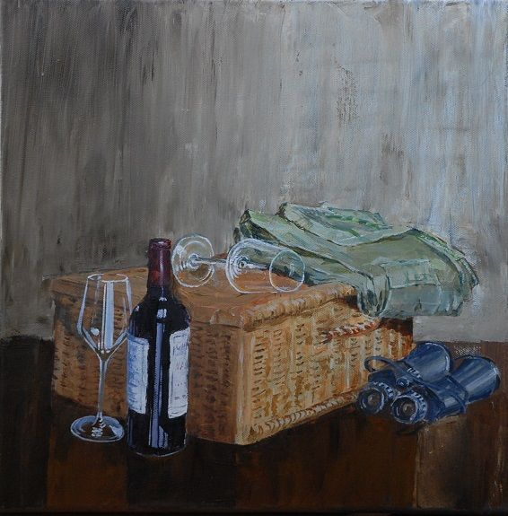 89 Still Life with Wine, oil on canvas by Willie Drea