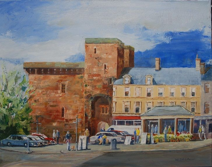 Hexham Market Place -oil painting by Willie Drea