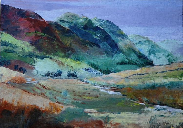 Honister Pass, oil on board by Willie Drea