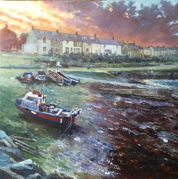 70 Craster Fading Light acrylic by Anne Roberts