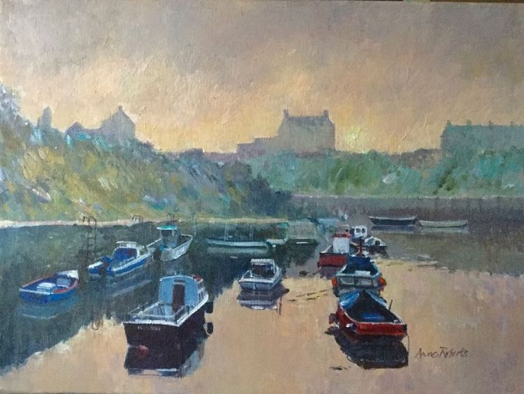 Seaton Sluice Dawn -acrylic by Anne Roberts