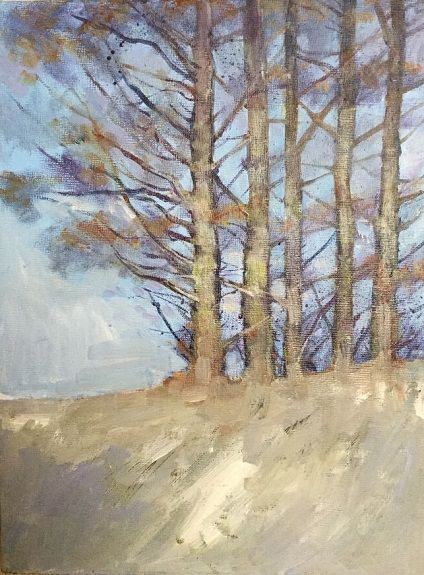 Winter Trees -acrylic by Anne Roberts