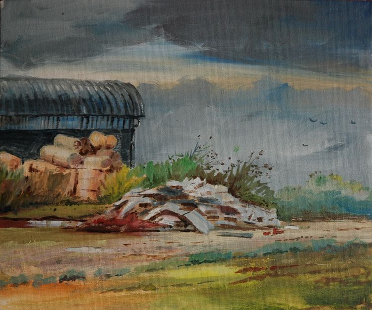 Midden (Broomhill Fm), oil on board by Willie Dtrea