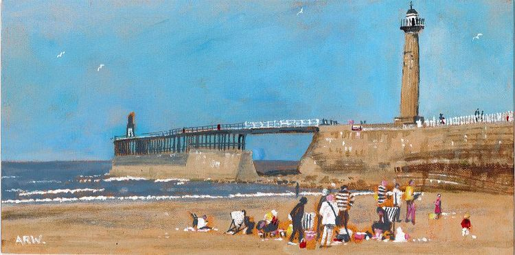 Whitley Bay West Pier, acrylic by Allan White
