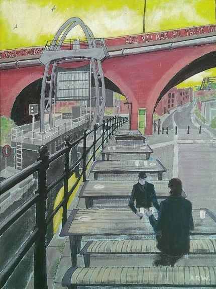 Lock Gates, Ouseburn -acrylic on board by Allan White