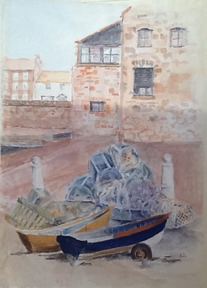 Berwick Quayside by Anne Brown, -gouache