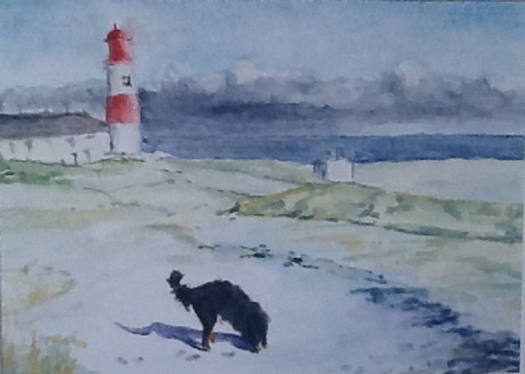 88 -Snow at Souter by Anne Brown, -gouache