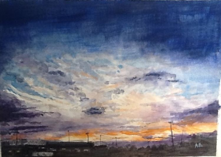 48 -Dramatic Sunset by Anne Brown, -gouache