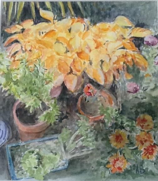Autumn (dead hosta) by Anne Brown, -gouache