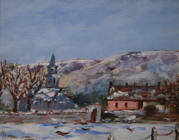 Cumbrian Snow Scene by Audrey Drynan, -acrylic