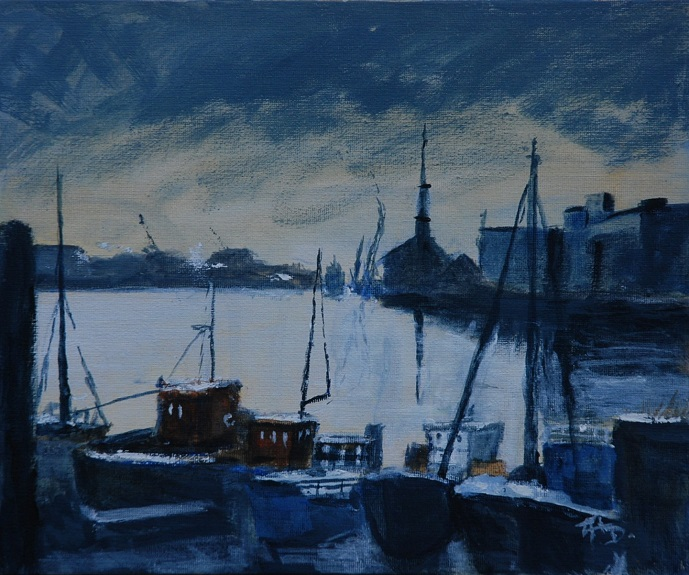 Looking up the Tyne by Audrey Drynan. -acrylic
