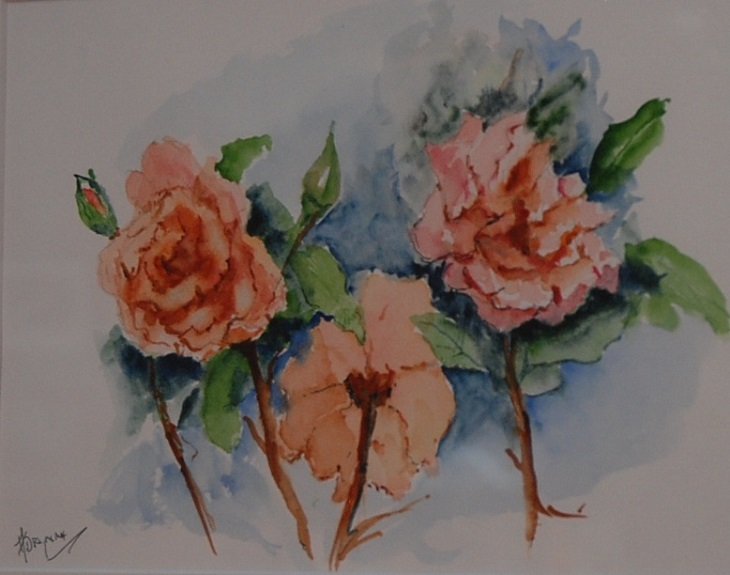 Orange Roses by Audrey Drynan, -watercolour