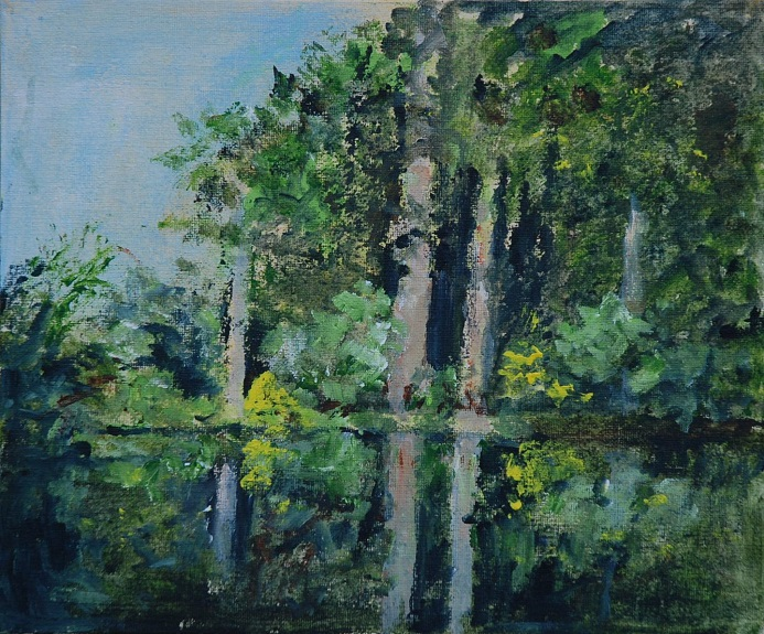 Tree reflection by Audrey Drynan. -acrylic