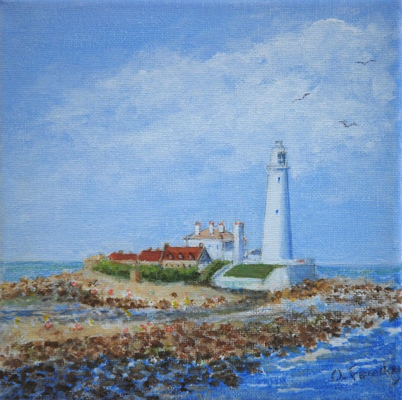 St Marys Lighthouse by Alison Fereday, -acrylic