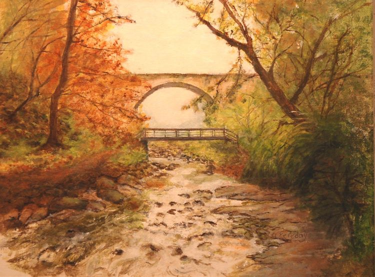 54 -The Causey Arch by Alison Fereday, -acrylic