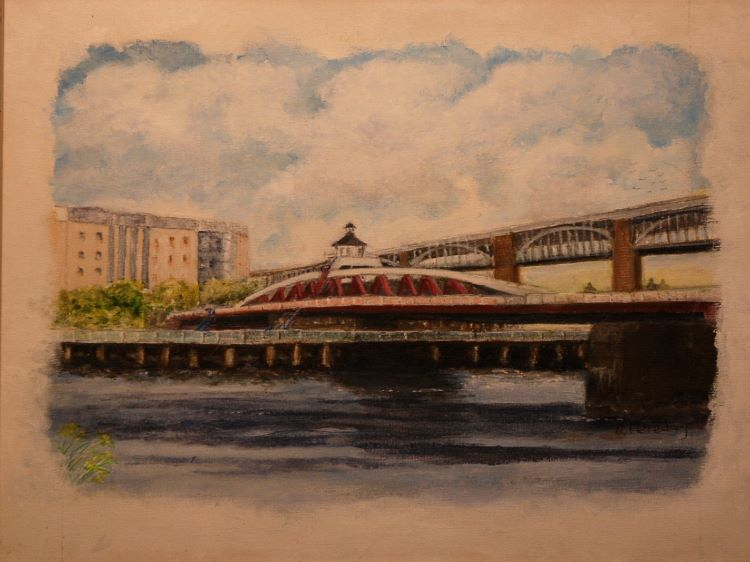 53 -Two of our Bridges by Alison Fereday, -acrylic