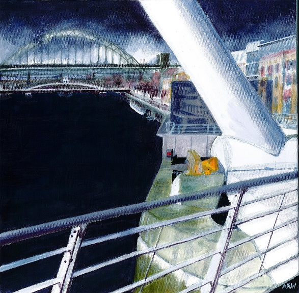 82 -Bridges by Allan White. -acrylic on canvas