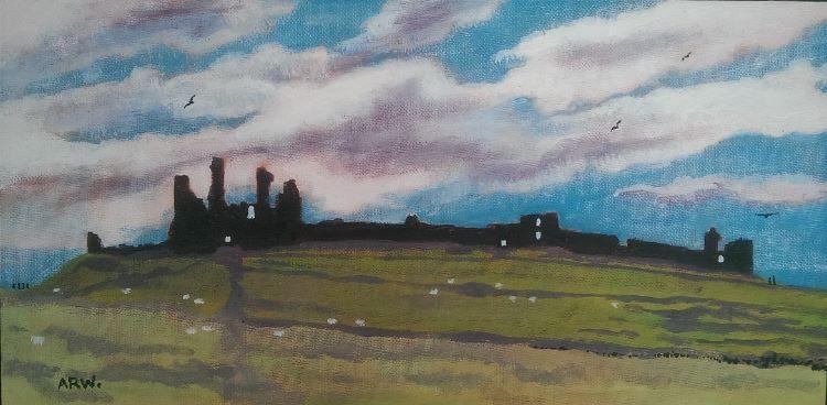 Dunstanburgh Castle by Allan White. -acrylic