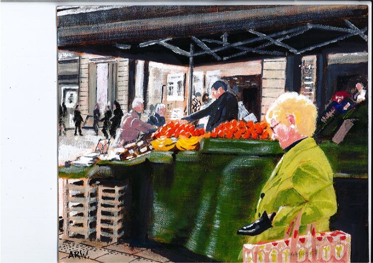 Fruit Stall Northumberland Street by Allan White. -acrylic