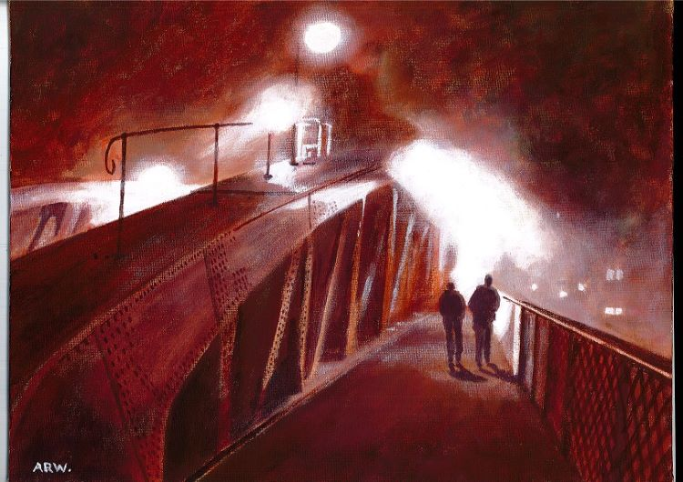 Swing Bridge Mist by Allan White. -acrylic
