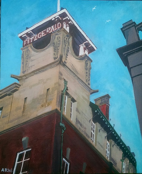 The Bridge Hotel by Allan White. -acrylic