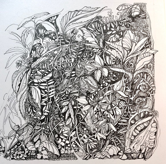 A Working Drawing, pen drawing by Karen Stott