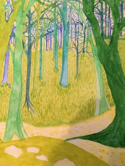 Abstract Trees -watercolour by Pat Thompson