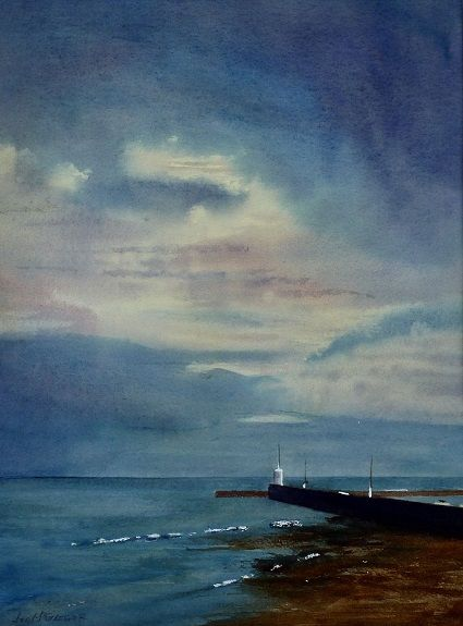 After the Storm, Seahouses, watercolour by Joe McGregor