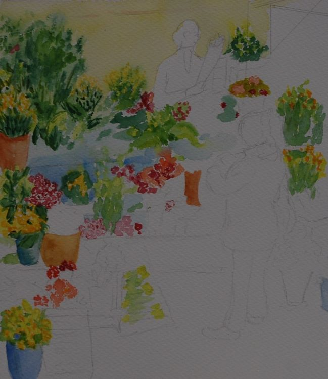 Flower Shop Alla Prima wip