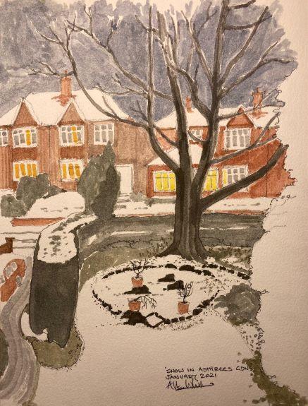 Allan White ' Snow in Ashtrees Gardens '