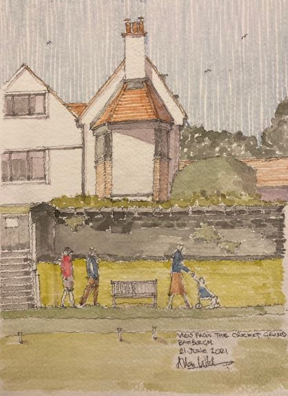 Allan White ' View from the Cricket Ground, Bamburgh. '