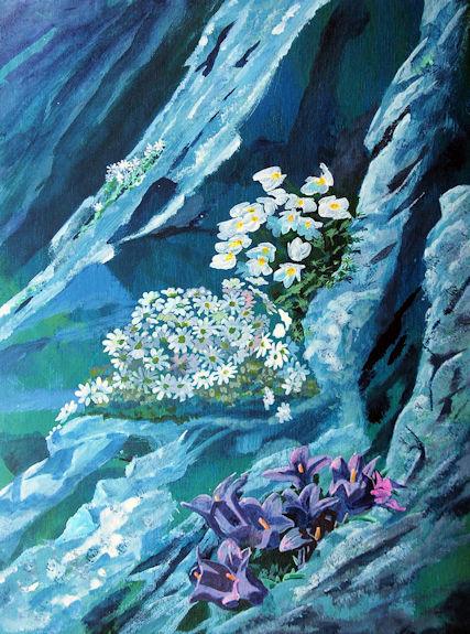 Alpines, -acrylic by Willie Drea