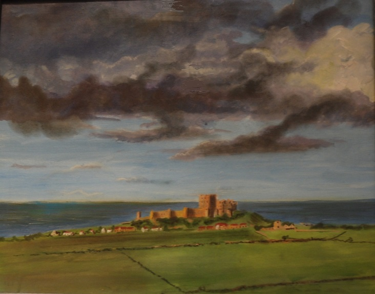 Clouds over Bamburgh by Brian Wilson, -acrylic