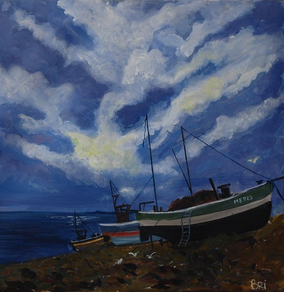Clouds at Beadnell by Brian Wilson, -mixed media
