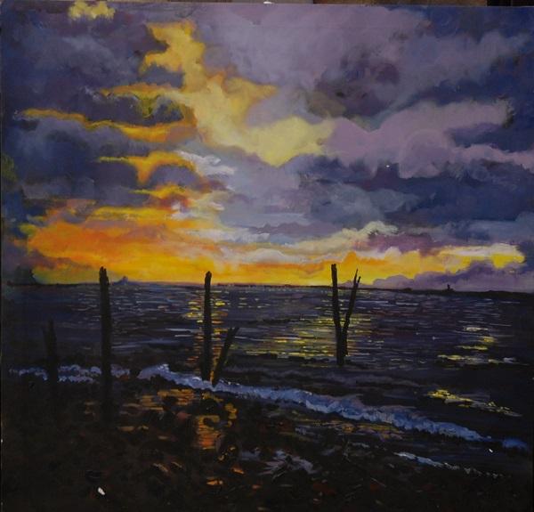 Lindisfarne Sunset by Brian Wilson, -acrylic