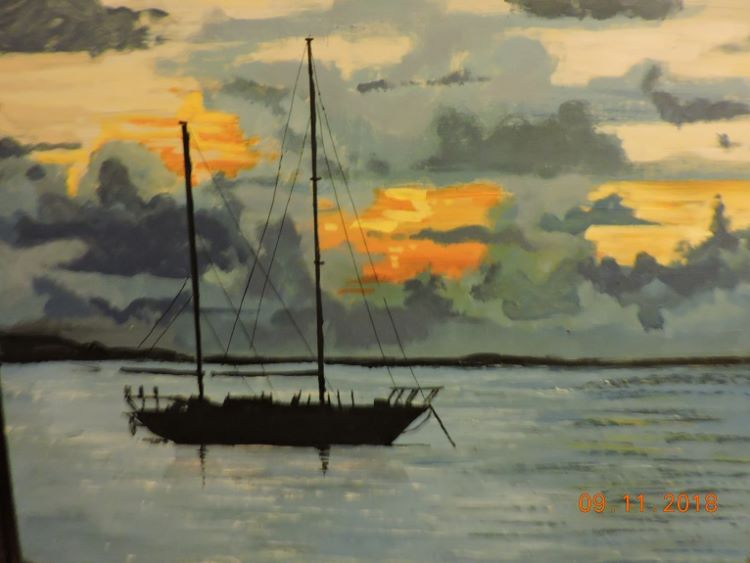 Sunset with Sailing Ship by Brian Wilson