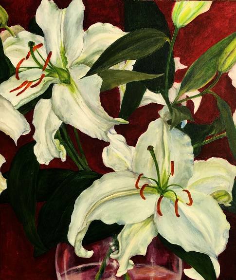 Lillies 2 by Clare Lovatt. acrylic on canvas
