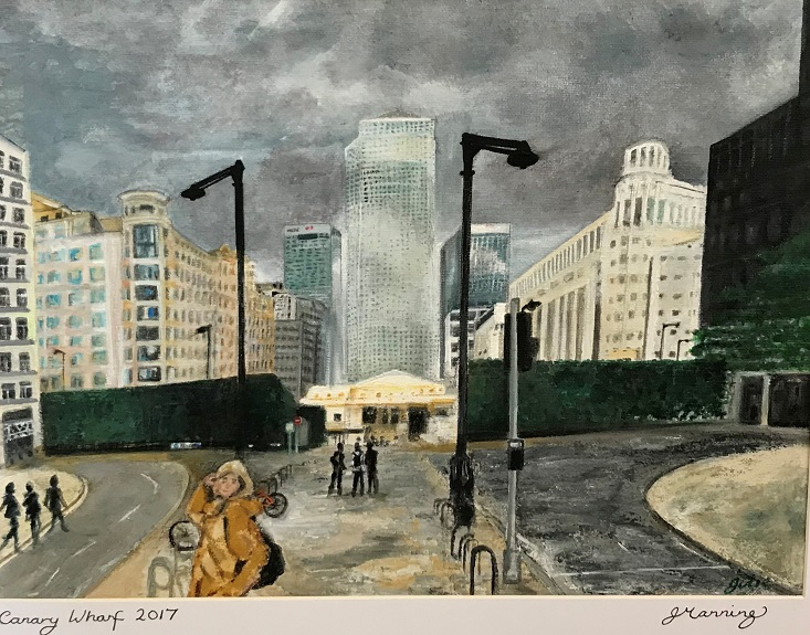 Canary Wharf by Julie Manning, -acrylic