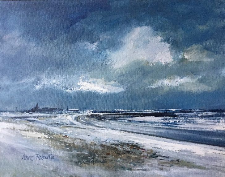 "Anne Roberts -Church Point, Newbiggin by the Sea -acrylic on canvas 14""x11"""