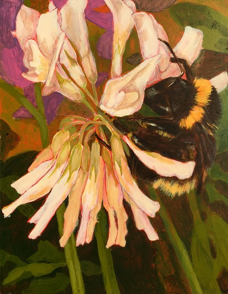 93 Clover and Bee by Clare Lovatt -acrylic on board