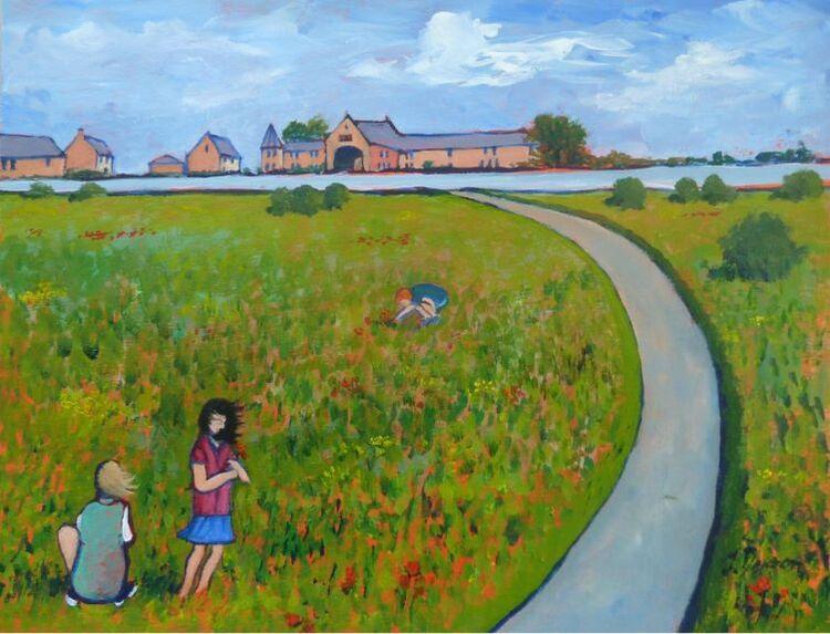Jenny Dyson, Gathering Flowers on a Windy Day