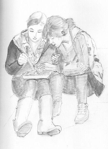 Joe Beard, Sharing, -painting study