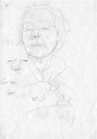 Joe Beard, Peeling Onions' Study -graphite