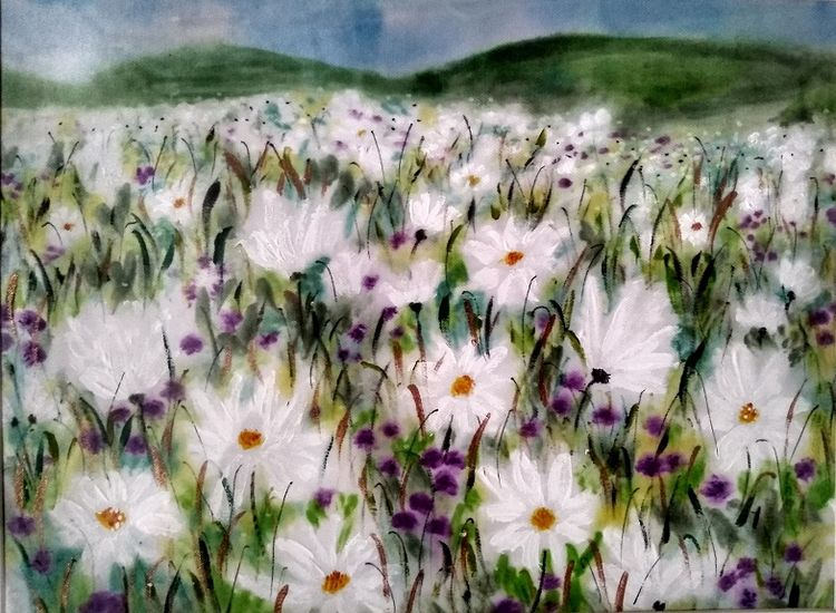 Sheila Lewis, Daisy Meadow, -painted on satin (£45)