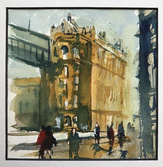 Tim Griffiths, Under the Bridge Queen Street -watercolour
