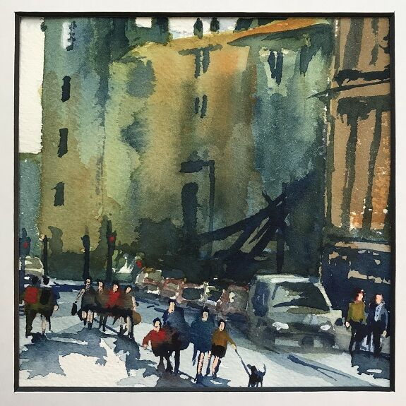 Out for a Stroll Watercolour by Tim Griffiths